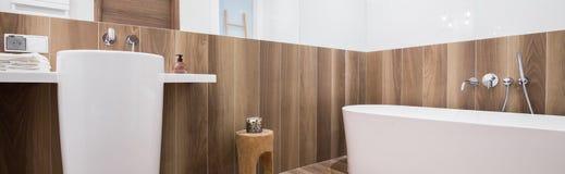 Stylsih bathtub and washbasin Stock Photos