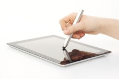 Stylus being used on Tablet Computer. Stylus being used with Tablet Computer royalty free stock photography