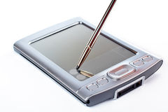 Stylus on screen of PDA. Suspended stylus on a contact screen of PDA Royalty Free Stock Photos