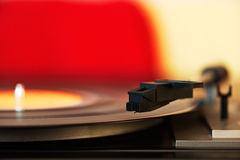 Stylus on a vinyl LP record. Close up photo of a stylus on a vinyl LP record Royalty Free Stock Image