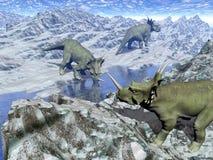 Styracosaurus около воды 3D представляет Стоковые Изображения