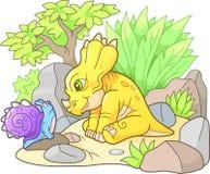 Styracosaurus looking at snail Stock Photo