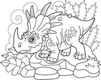Styracosaurus prehistórico lindo del dinosaurio, libro de colorear, ejemplo divertido ilustración del vector
