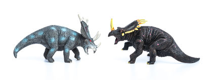 Styracosaurus and triceratops toys on white background Royalty Free Stock Image