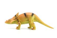 Styracosaurusdinosaurieleksak på vit bakgrund Fotografering för Bildbyråer