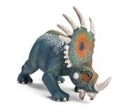 Styracosaurusdinosaurieleksak som isoleras på vit bakgrund med den snabba banan Royaltyfri Bild