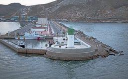 Styrbordlightouse på den Cartagena hamnen Fotografering för Bildbyråer