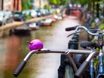 Styrecykel med en purpurfärgad ringer mellan kanalerna och bren arkivbilder