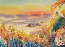 Styria. Watercolor painted illustration of Styrian Tuscany Vineyard at sunset,Austria Stock Image