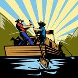 styrning för cowboyflatboatflod Arkivfoto