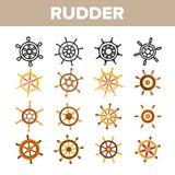 Styrninghjul, för vektorsymboler för roder linjär uppsättning royaltyfri illustrationer