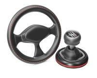 Styrninghjul och växellåda Royaltyfria Foton