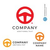 Styrninghjul Shape Logo Emblem Modern Simple och mall för uppsättning för begrepp för symbol för symbol för märke för rengöringlo Arkivbilder