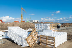 Styrofoam blocks. Waste styrofoam blocks used as packaging material on a construction site stock photo