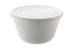 Styrofoam Bowl. With Plastic Lid On White Background royalty free stock photos