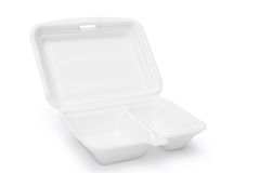 Styrofoam box. On white with clipping path, open stock photos