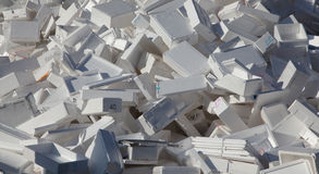 Styrofoam boxes. A large pile of styrofoam boxes disgarded as rubbish royalty free stock photo