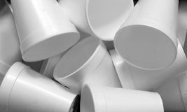 Styrofoam cups. Close up of styrofoam cups background Royalty Free Stock Images