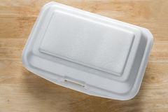 Styrofoam food container. Foam Box Cause cancer and have. The substance styrene (Styrene) hidden Stock Photo