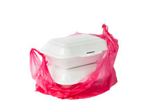 Styrofoam Lunch Boxes and PVC plastic bag Royalty Free Stock Image