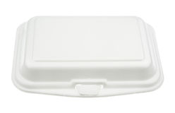 Styrofoam meal box isolated on white Stock Photos