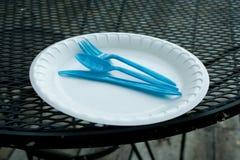 Styrofoam plate. Styrofoam or disposable plate and plastic utensils Stock Photos
