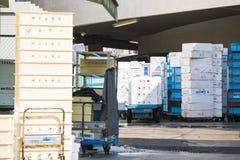 Styrofoam storage box for frozen food Stock Image