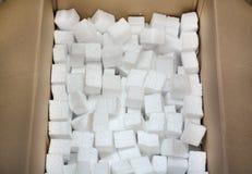 Styrofoam w kartonie dla pakować towary w doręczeniowej usługa, Zdjęcia Stock