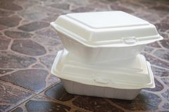 Styroform lunch boxes royalty free stock photography
