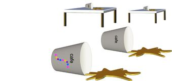 Styroschaumcup, das Kaffee auf Tabelle verschüttet lizenzfreie abbildung