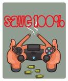 Styrspaken för lek i videospel Arkivfoto