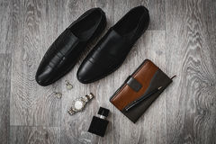 Stysh male accessories. In wooden background Stock Photo