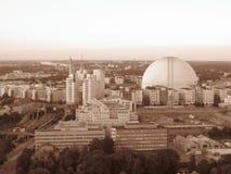 A Suécia Éstocolmo globen o hotairbaloon bonito do sepia do capitalcity da cidade que voa a arena incrível fotografia de stock