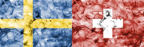 Suécia contra a bandeira do fumo de Suíça, quartos de final, campeonato do mundo 2018 do futebol, Moscou, Rússia ilustração stock