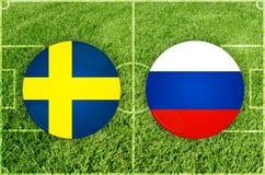 Suécia contra o fósforo de futebol de Rússia fotografia de stock