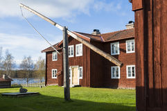 Suécia de madeira velha de Ytterhogdal da casa de moradia Imagens de Stock