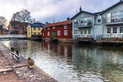 Suécia de Norrtalje - 1º de abril de 2017: Cidade velha de Norrtalje, Suécia Imagens de Stock Royalty Free