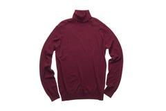 Suéter aislado del cuello alto del rojo de vino Imagen de archivo