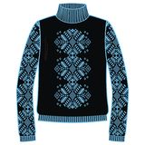 Suéter caliente del invierno hecho a mano, svitshot, puente para el color del punto, negro y azul Diseño - modelo del telar jacqu stock de ilustración