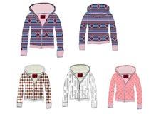 Suéter de la cremallera del frente del telar jacquar de las señoras dentro del diseño de la tela de Sherpa ilustración del vector