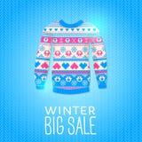 Suéter. Ejemplo del invierno de la venta. Puede ser utilizado para el diseño del invierno Fotos de archivo