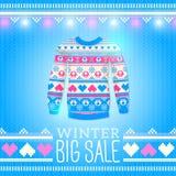 Suéter. Ejemplo del invierno de la venta. Puede ser utilizado para el diseño del invierno Foto de archivo libre de regalías
