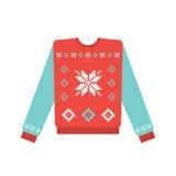 Suéter feo de la Navidad con el modelo del copo de nieve Foto de archivo libre de regalías