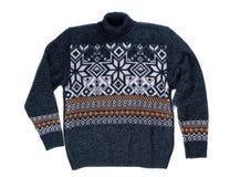 Suéter hecho punto con el modelo del copo de nieve Foto de archivo libre de regalías