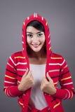 Suéter que desgasta femenino lindo Imágenes de archivo libres de regalías