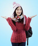 Suéter que lleva del estudiante dulce Imagen de archivo