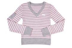 suéter Rosado-gris en un blanco. imagen de archivo