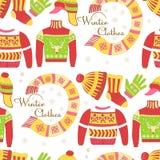 Suéteres hechos punto y modelo inconsútil del sombrero caliente del invierno aislado libre illustration