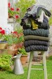 Suéteres y calcetines tradicionales del knit de Aran Foto de archivo