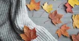 Suéteres y hojas hechos punto otoño foto de archivo